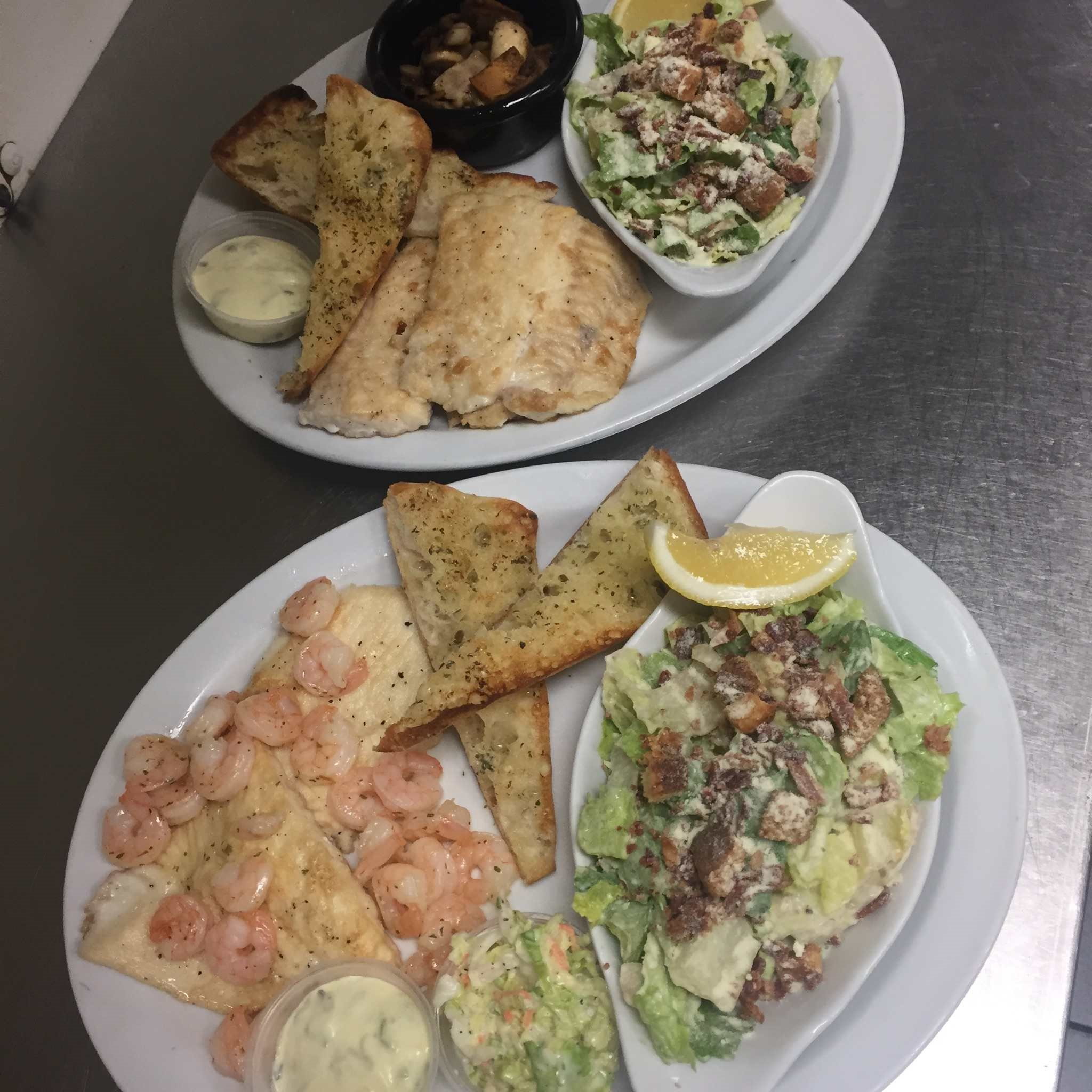 Picture of salad, shrimp and fish